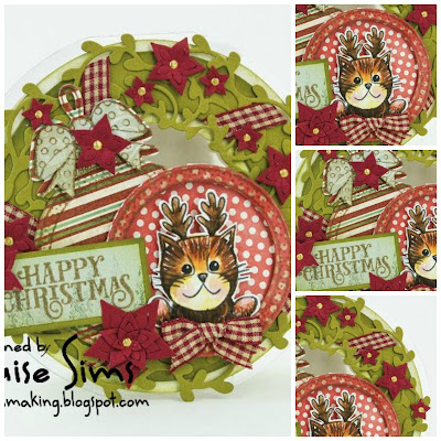 Wreath shaped card using Festive Friends stamps & dies. ~ Louise Sims Papercrafter