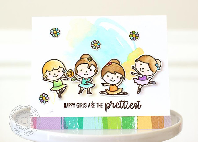 Sunny Studio Stamps: Tiny Dancers Watercolored Background Card by Nancy Damiano