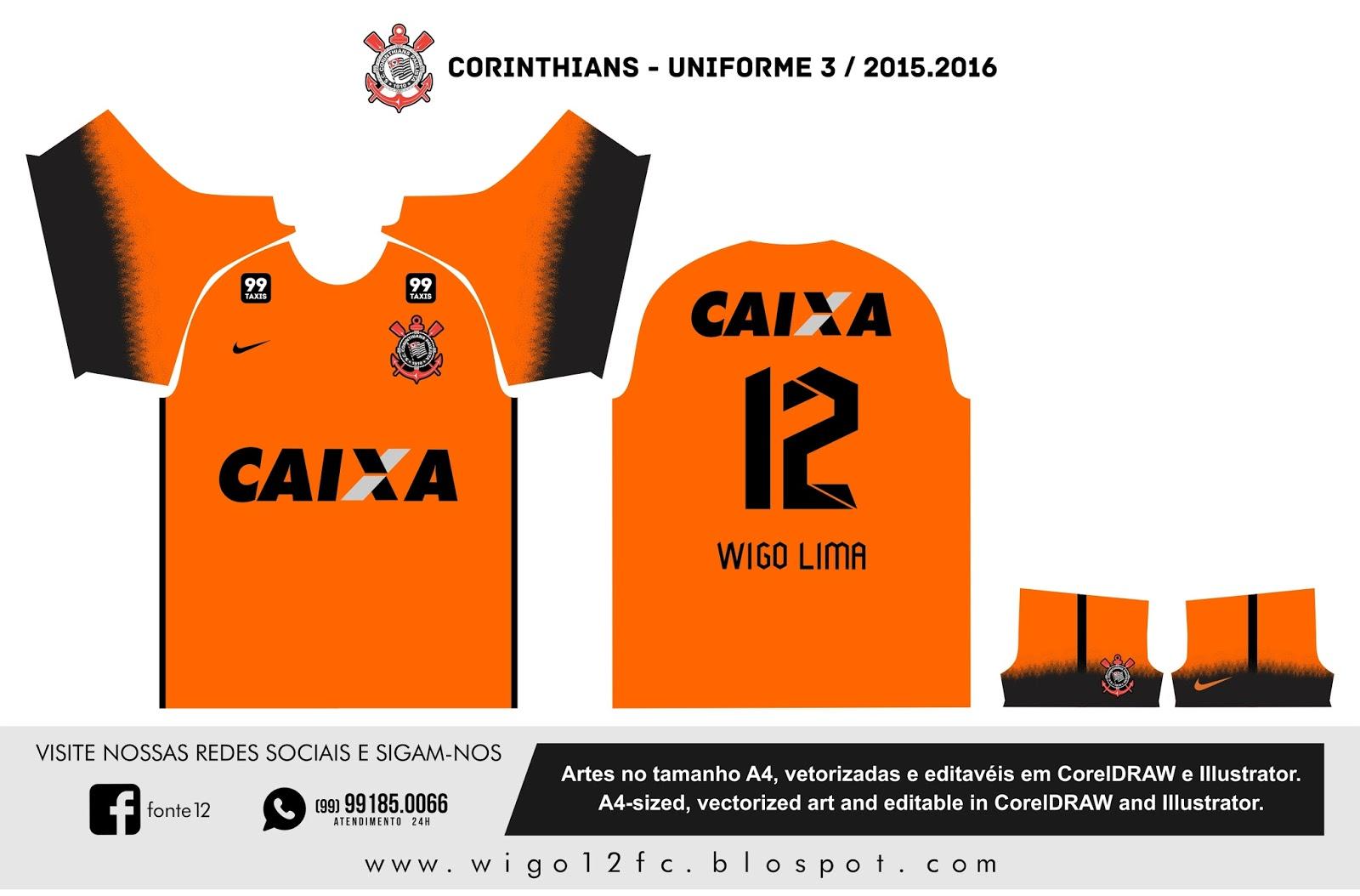 cb4e01ea00 Fontes Camisas de Futebol  Uniforme Corinthians 2015-2016