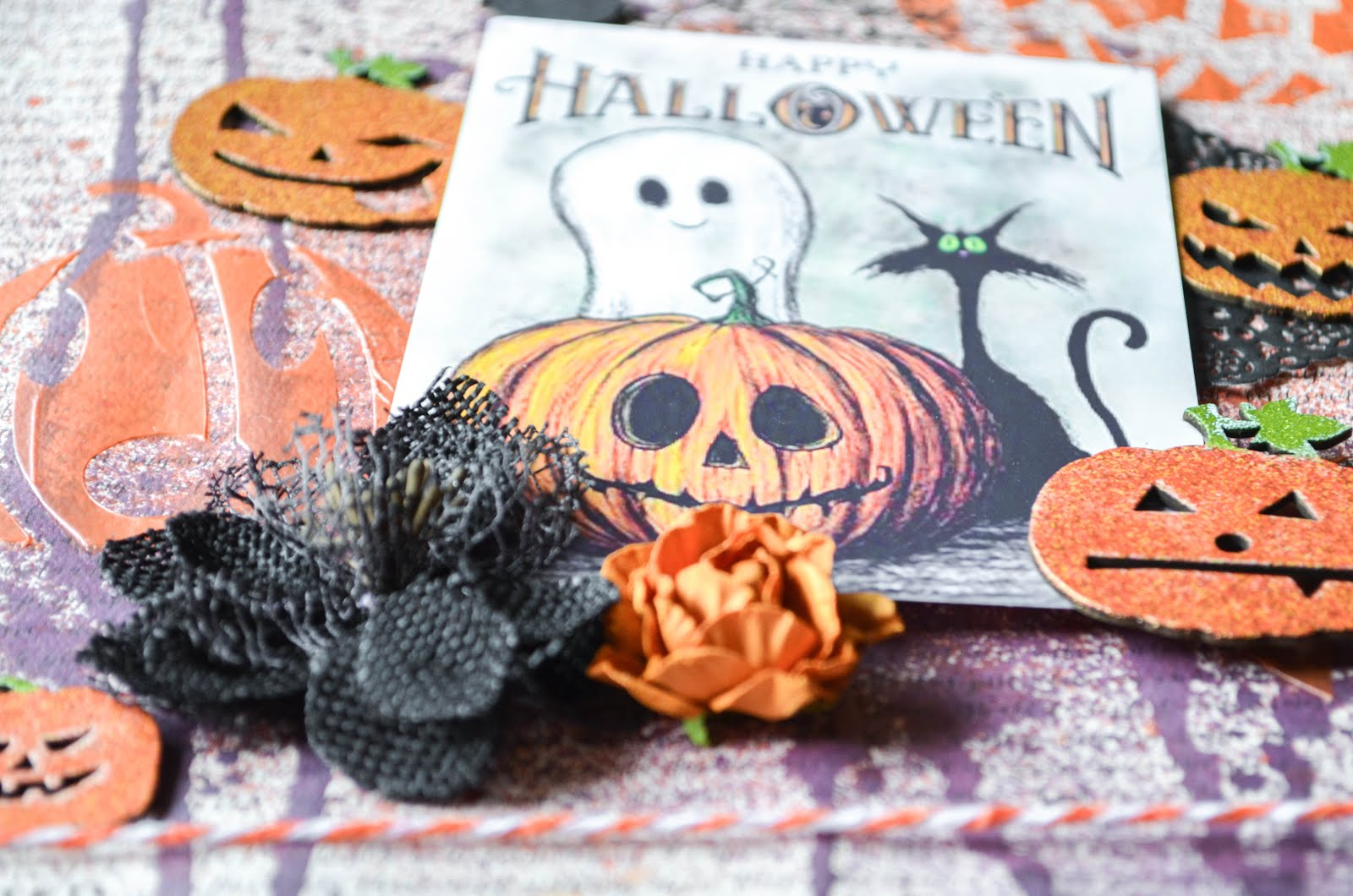 Halloween Fall Autumn Scrapbook Layout Page in purple, orange, black, and white on script paper by Authentique with texture paste stenciling and haunted house, owl, pumpkins, and witch chipboard with Tim Holtz metal trinket and washi tape