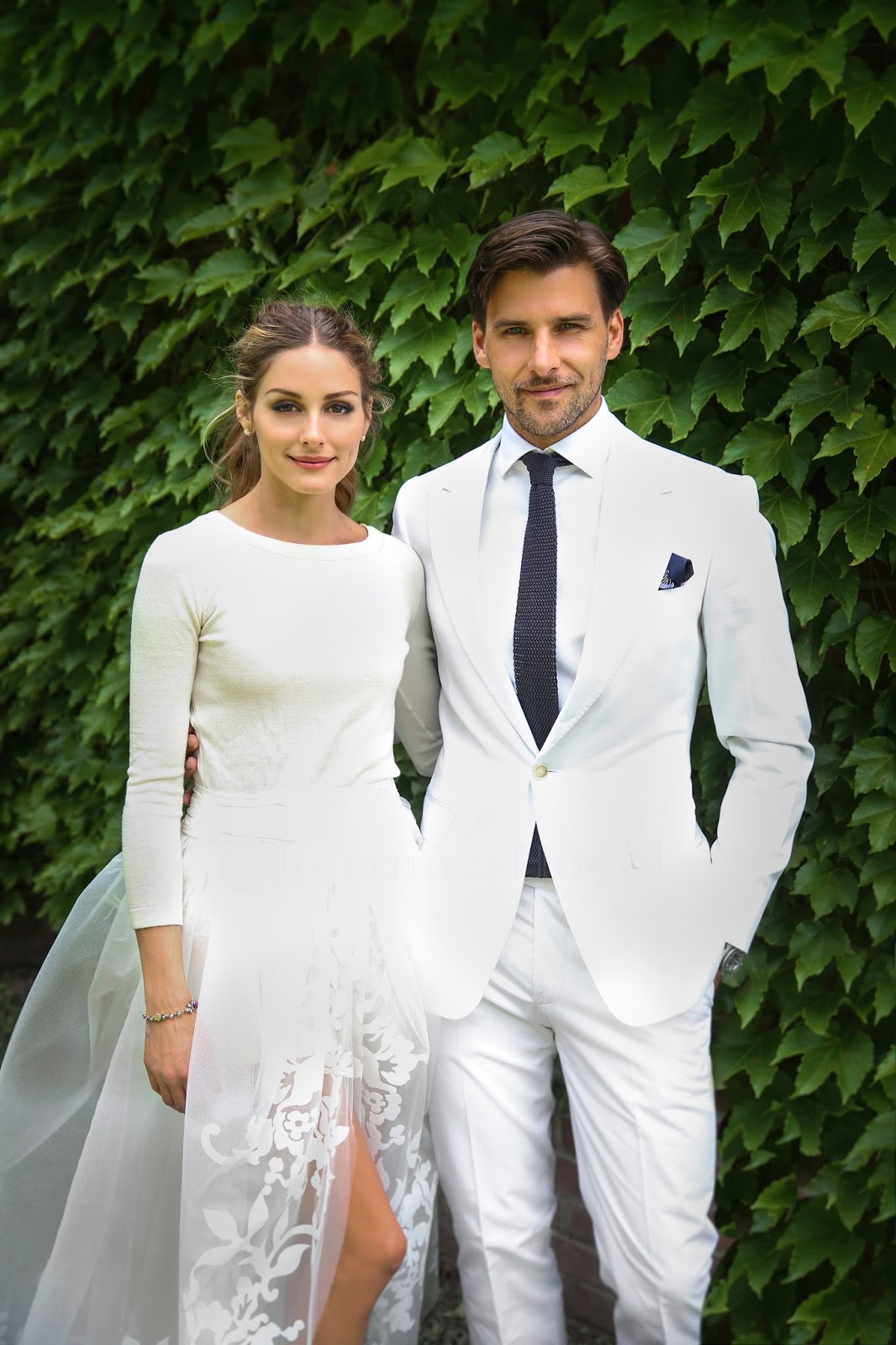 493281e48e1 Style Snapshot  Johannes Huebl in a White Suit on His Wedding Day ...