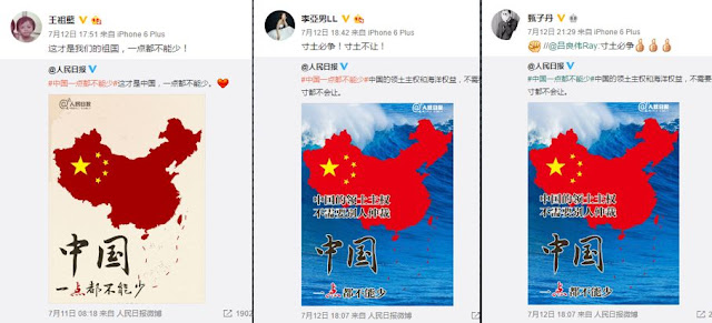 Hong Kong celebrities defended China's claim over South China Sea on Weibo. Photo: Weibo Screenshot.