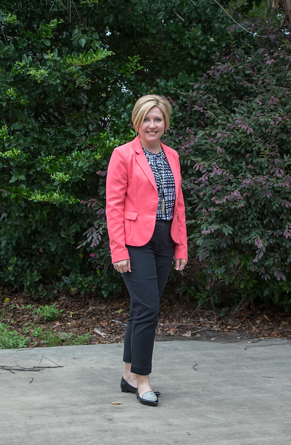 coral blazer, office outfit, womens work wear, loafers