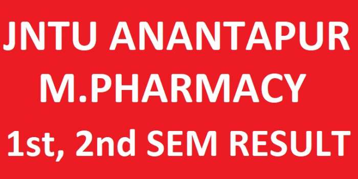 JNTUA M.Pharmacy 1st & 2nd Sem Reg/Supply Exam Results Feb 2018