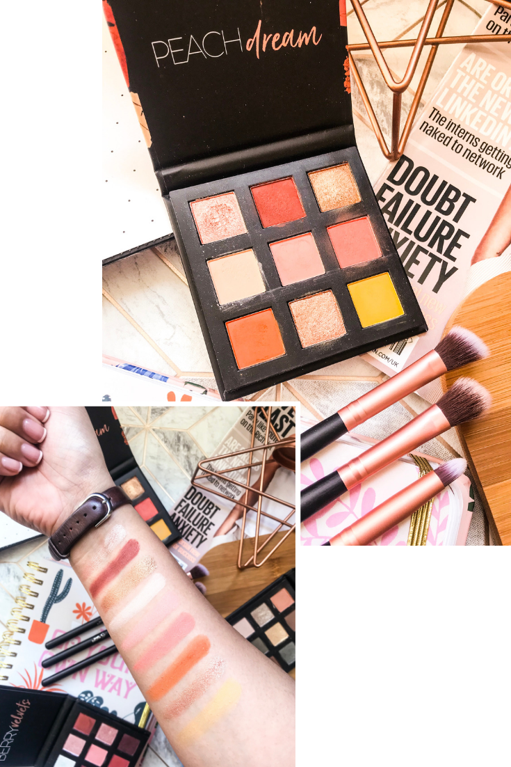 peach dream palette flatlay and swatch