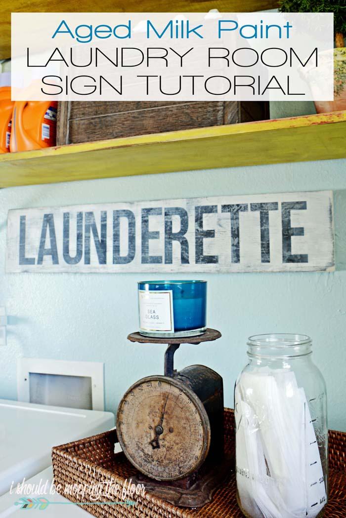 Milk Paint Laundry Room Sign Tutorial