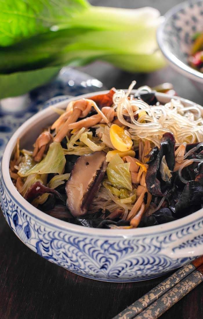 chap chye with glass noodles, dried lily flowers and mushrooms
