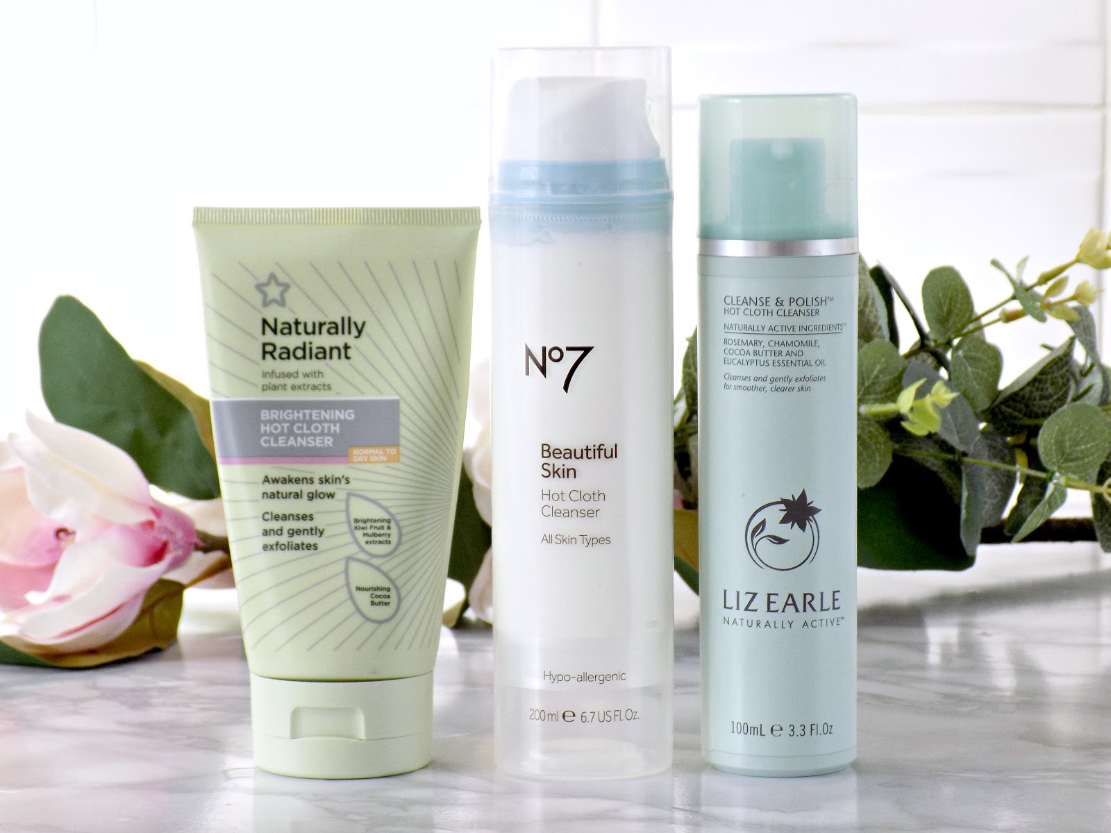 Superdrug Brightening Hot Cloth Cleanser, No7 Hot Cloth Cleanser, Liz Earle Cleanse & Polish Clth Cleanser