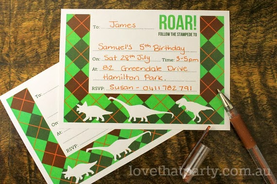 Dinosaur Party printed Fill-in Invitations by Love That Party www.lovethatparty.com.au