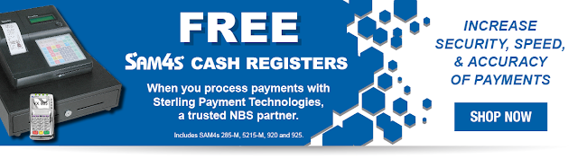 NBS offers a SAM4s Cash Register for Free with a merchant services account