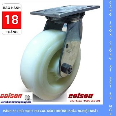 Bánh xe Nylon PA trắng càng inox 304 Colson Mỹ tại Bạc Liêu www.banhxepu.net
