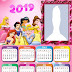 Disney Princess 2019 Free Printable Calendar.