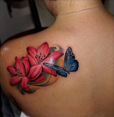 Beautiful-Lily-Butterfly-Tattoo-On-Back-Shoulder