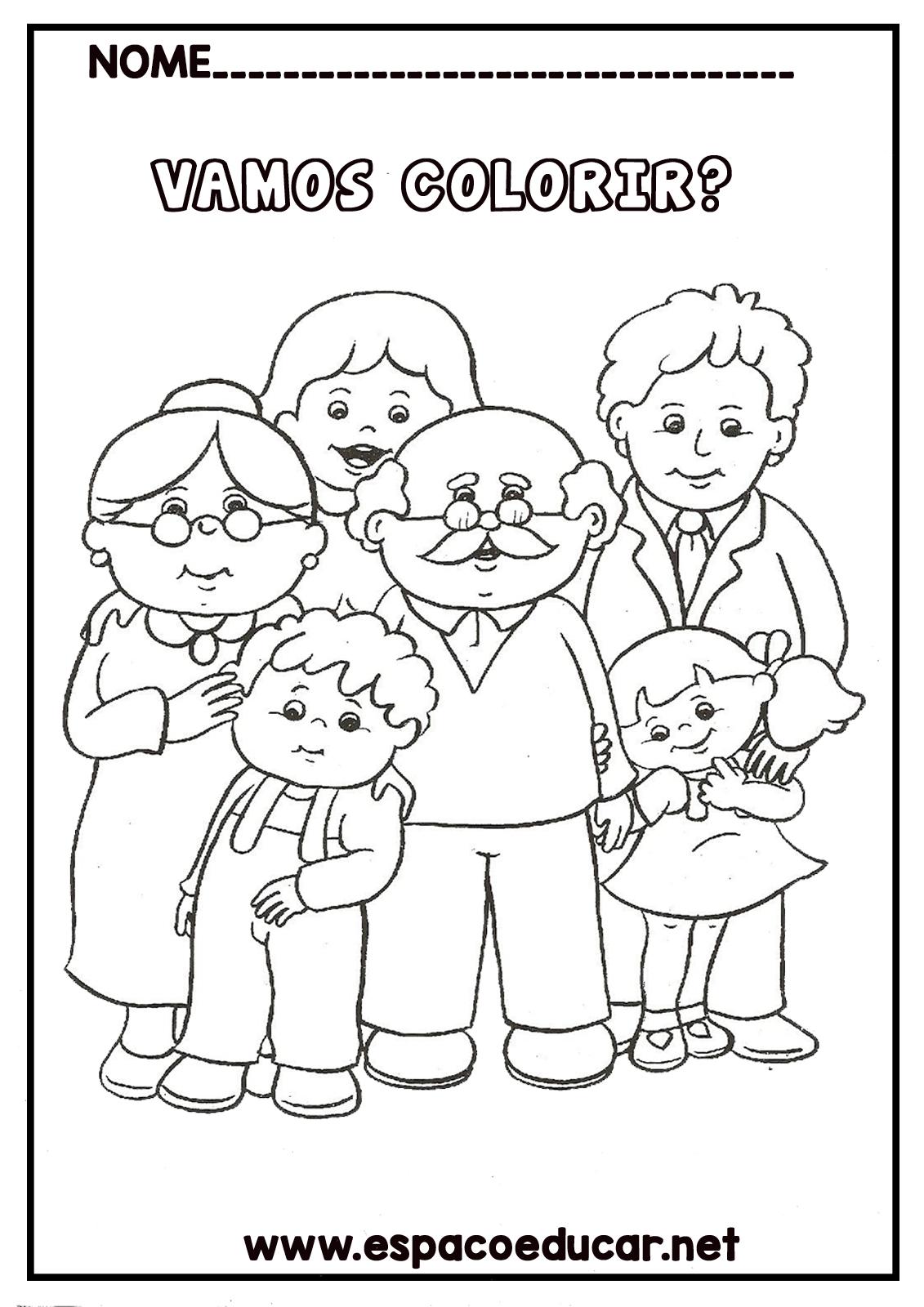 Desenho De Familia Para Colorir Pintar Mae Pai Avo E Avo