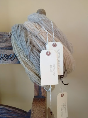 Skeins of wool in very pale shades