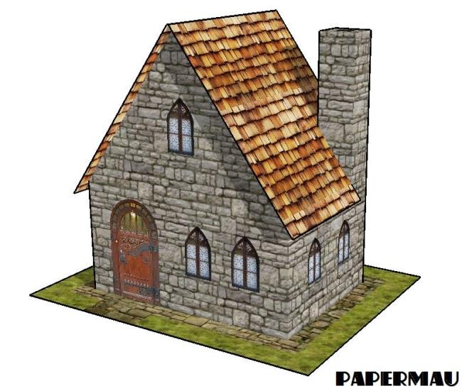 Papermau a simple stone house paper model by papermau for Build a stone house