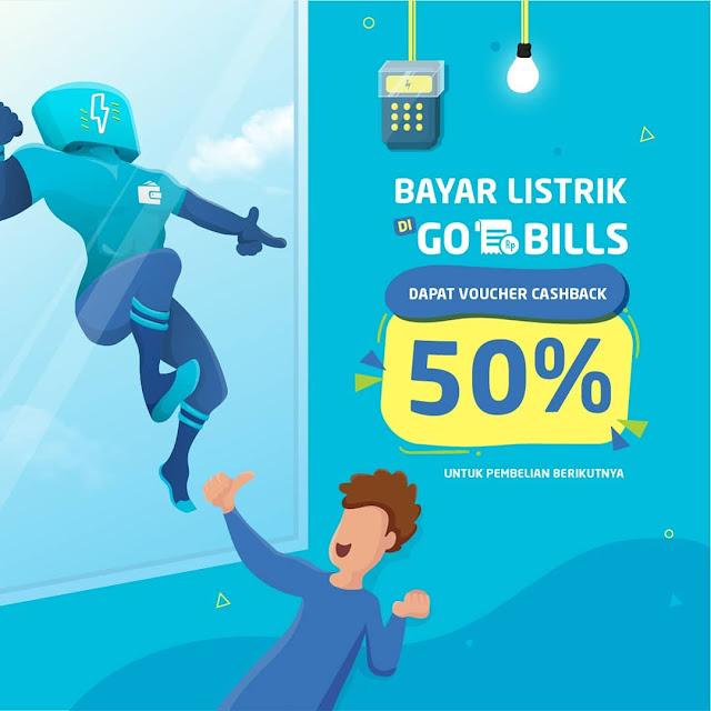 #GOPAY - #Promo Bayar Bayar Cashback 50% Pakai GO BILLS (s.d 31 Maret 2019)