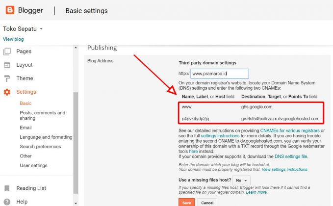 add domain blogger
