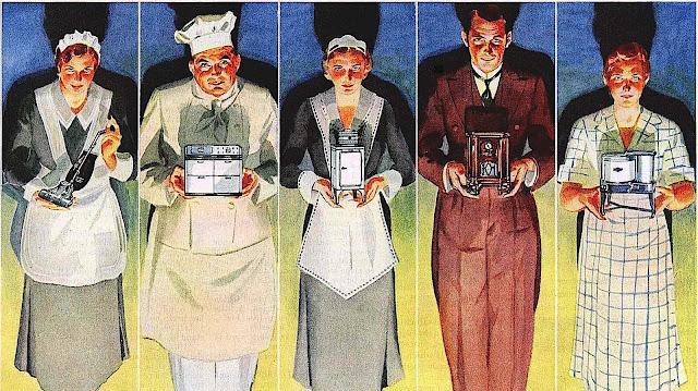 domestic servants holding miniature appliances, illustration of maid butler