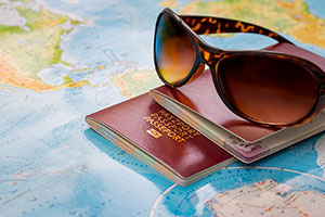 image of travel tourism map sunglasses passport