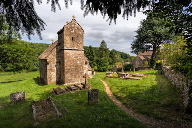 Ancient Cotswold church of St. Michael's in Duntisbourne Rouse Cotswold village