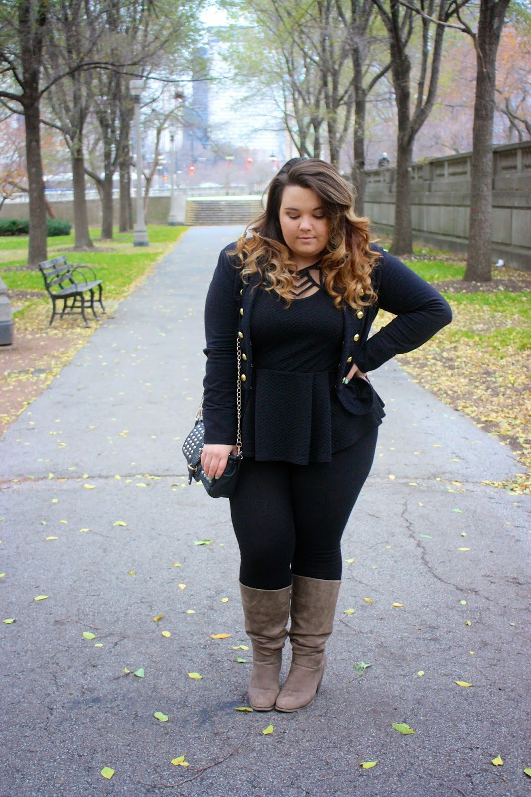 fatshion, fashion blogger, fat girl fashion, military style jacket, all black outfits, peplum, wide calf boots, curvy fashionista, thick girls, chicago, natalie craig, natalie in the city, forever 21 plus, winter trends 2014, curly ombre hair, plus size fashion blogger, fashion blogger, gold buttons, black spike clutch
