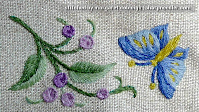 Crewel Sampler (by Elsa Williams): Purple flowers and butterfly