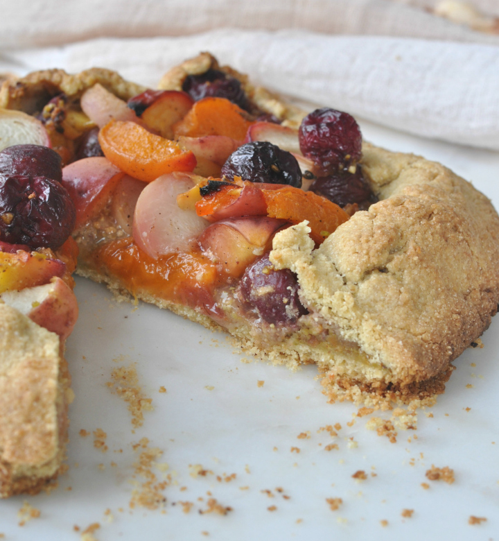 glutenfree galette with stone fruits and lavender