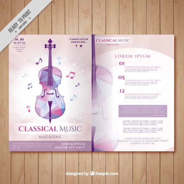 Classical music magazine with geometric violin - Free Vector