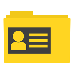 Preview of contact, yellow, design, people folder icon