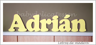 letras de madera infantiles para pared Adrián babydelicatessen