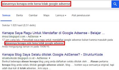 Alasan Mengapa Kena Tolak Google Adsense