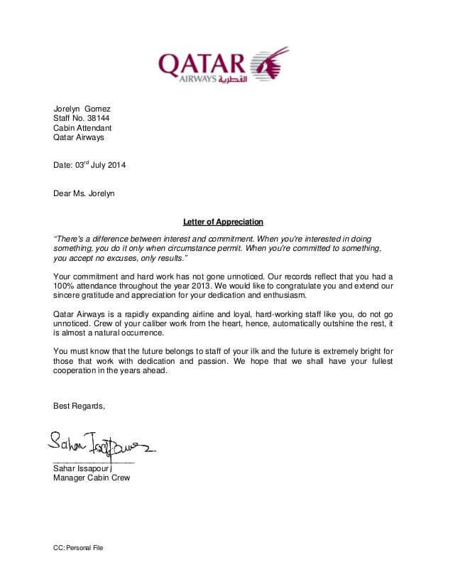 Appreciation Letter For Hard Work And Dedication