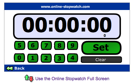 Stopwatch online full screen