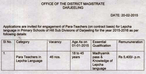 Darjeeling DM office recruiting 46 Para Teacher in Lepcha Language