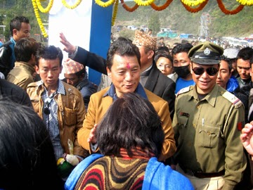 People welcoming GTA chief Bimal Gurung to Krishi Mela in Mirik on Tuesday.