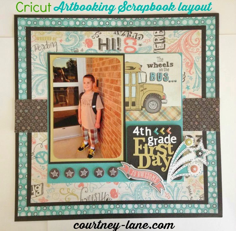 Cricut Artbooking First Day of School layout