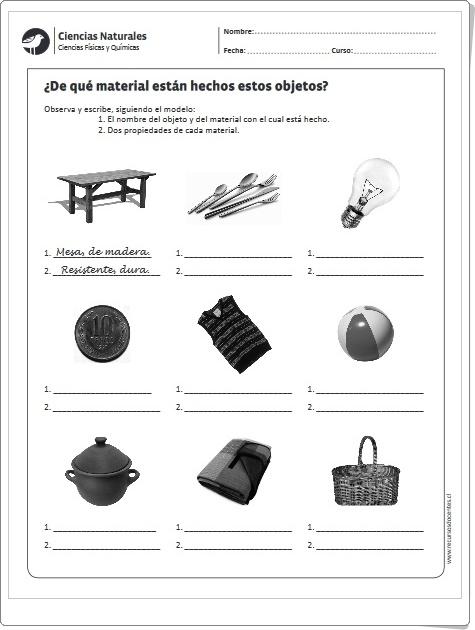 """""""¿De qué material están hechos estos objetos?"""" (Ficha de Ciencias Naturales de Primaria)"""