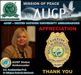 AUGP Ambassador H.E Academician Prof Dr Mirjana Radovic-Markovic