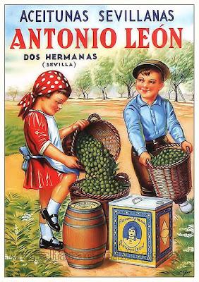 Cartel publicitario de Aceitunas Antonio León - Dos Hermanas - 1940