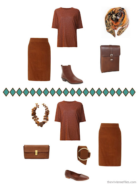 two ways to accessorize a russet tee shirt and skirt