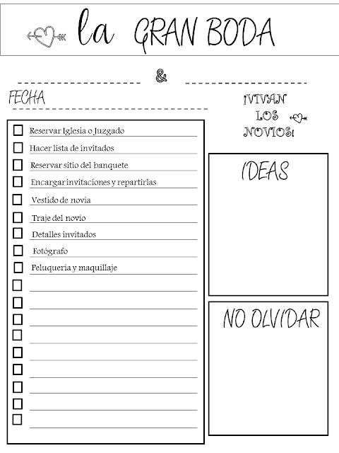 Imprimible gratuito tareas de una boda