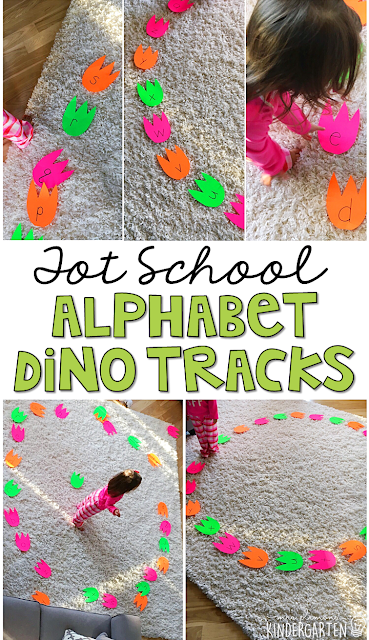 Learning is more fun when it involves movement! Practice stomping, dancing, and identifying letters with this alphabet dino tracks gross motor activity. Great for tot school, preschool, or even kindergarten!