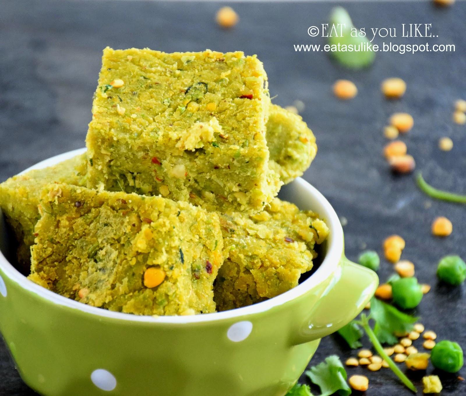 Eat as you Like: GREEN PEA AND LENTIL CAKE (KORAISHUTIR DHOKA)