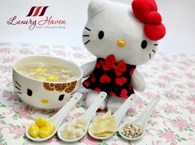 barley with ginkgo nuts desserts hello kitty bowls