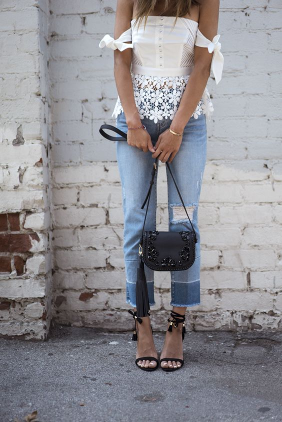 Aimee Song - Off Shoulder Floral Crochet Top + Patchwork Frayed Jeans + Tassel Lace Up Heels