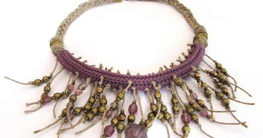 Tribal style fringe necklace - Collana tribale con frange