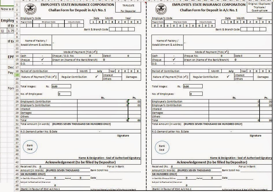 Esic Deposit Challan Form In Excel Format