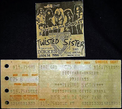 Twisted Sister newspaper ad and ticket stub for the Pittsburgh Civic Arena January 14, 1986