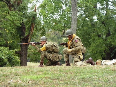 U.S. Army Paratroopers doing a reenactment of actions following their landing on D-Day